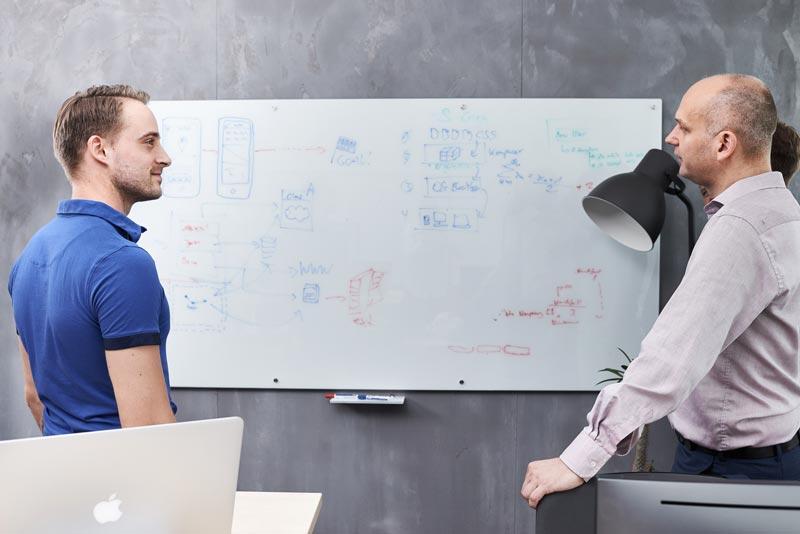 Besprechung vor einem Whiteboard