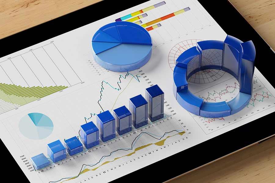 3D Diagramme auf einem Tablet
